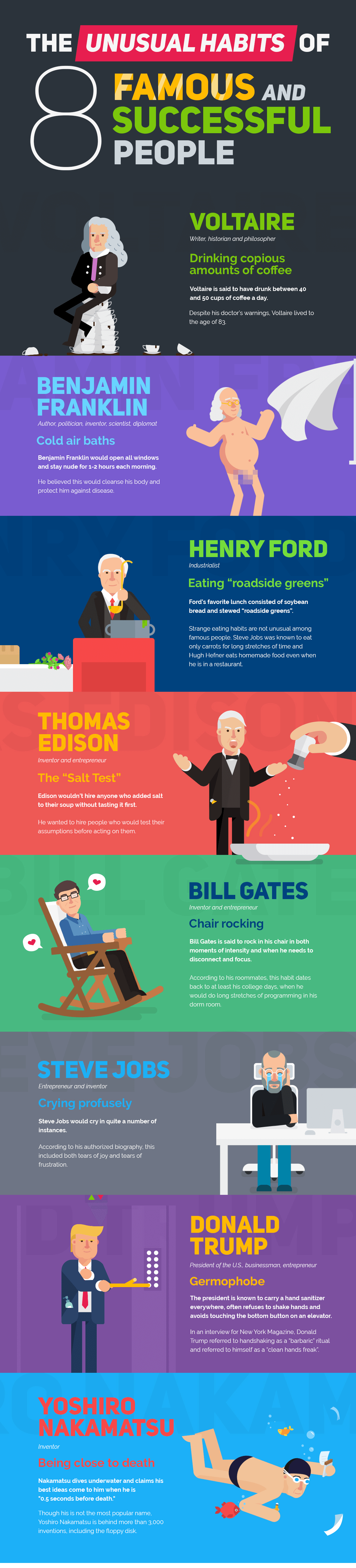 Bizarre Habits From 8 Famous & Successful People Infographic